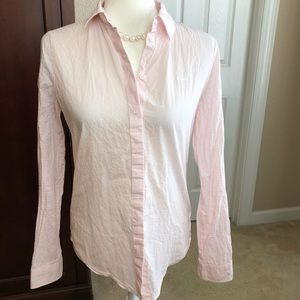 Lacoste Pink Stripe Button Down Shirt Sz 34 = 2